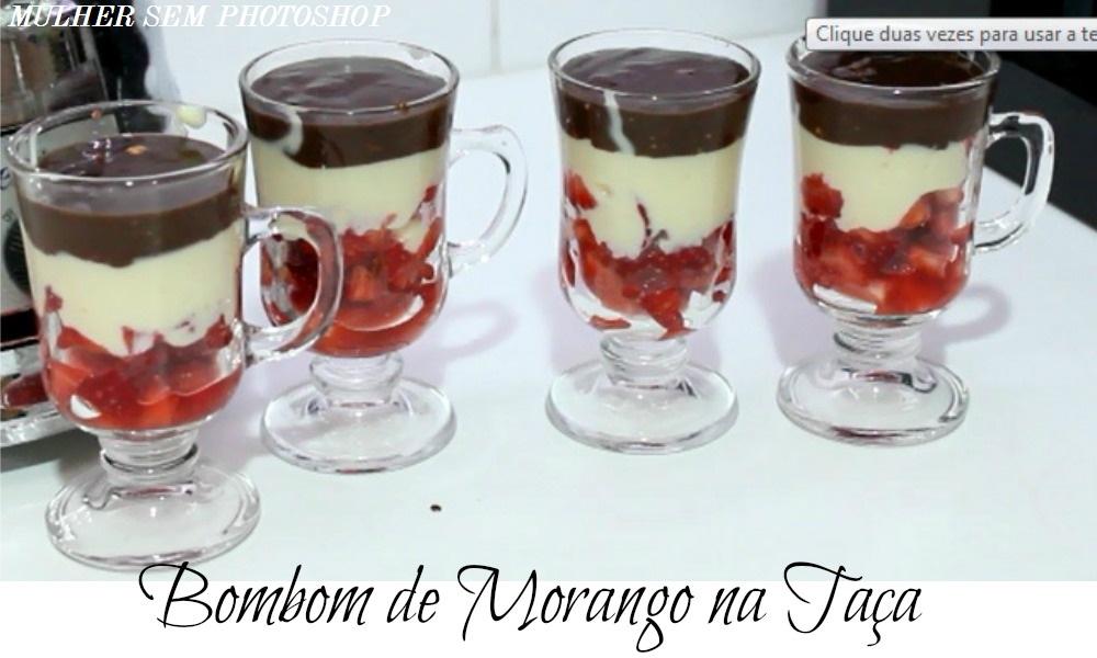 Receita com chocolate - Bombom de Morango na Taça