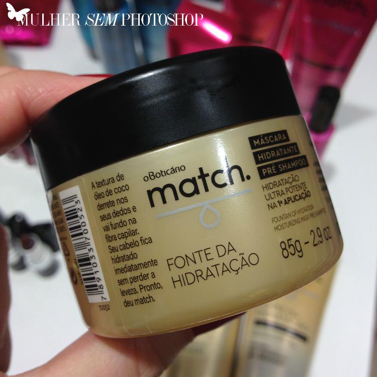 Match Boticario - fonte de hidratação - máscara pre-shampoo